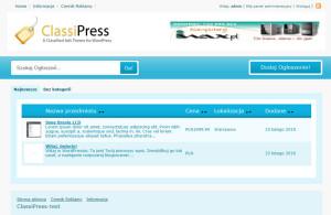 Screenshot ClassiPress - strona główna