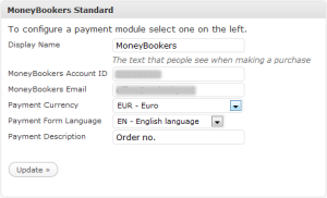 MoneyBookers - Configuration options